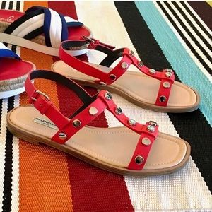 Balenciaga Red Leather Studded Sandals